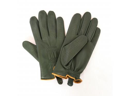 Guantes de piel color verde
